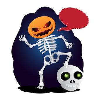 Squelette de dessin animé heureux avec citrouille au lieu de sa tête et bulle de discours. illustration vectorielle à happy halloween isolé sur fond blanc