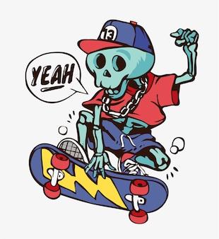 Squelette de dessin animé sur l'illustration de planche à roulettes
