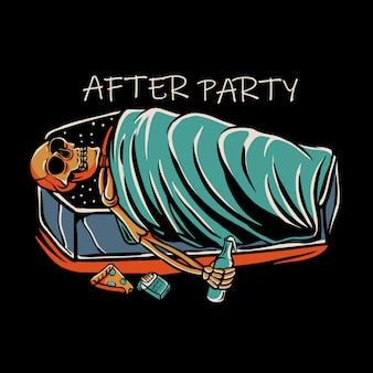 Squelette dormant dans un cercueil avec une bouteille de liquide, une cigarette et une pizza
