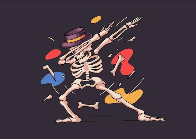 Squelette drôle tamponnant halloween