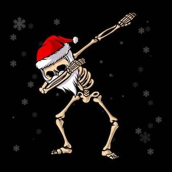 Squelette du père noël tamponnant la danse