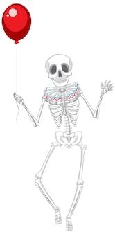 Squelette humain isolé tenant un ballon rouge