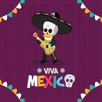 Squelette jouant de la guitare pour viva mexico