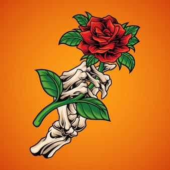 Squelette main tenant rose