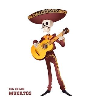 Squelette de musicien mariachi. tradition mexicaine