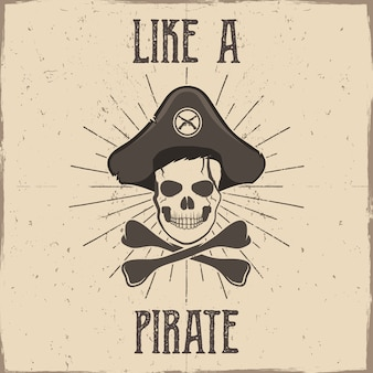 Squelette de pirate vintage avec os et texte