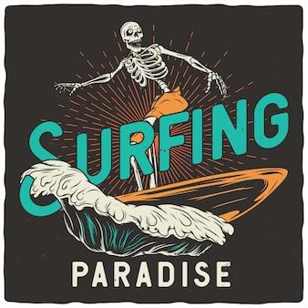 Squelette avec planche de surf
