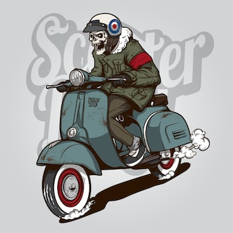 Squelette sur un scooter