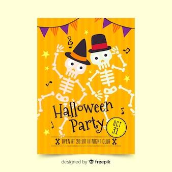 Squelettes d'affiche d'halloween dansant