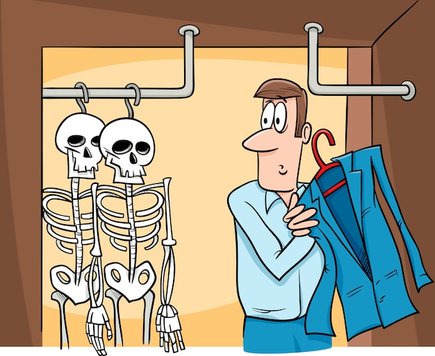 Squelettes dans le dessin animé de placard