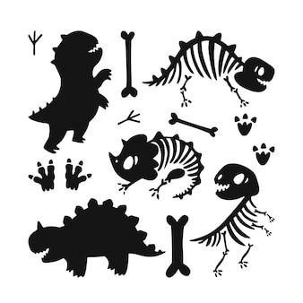 Squelettes de dinosaures silhouettes de dinosaures exposition du musée des os de dinosaures