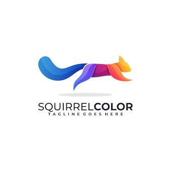 Squirrel jump logo coloré