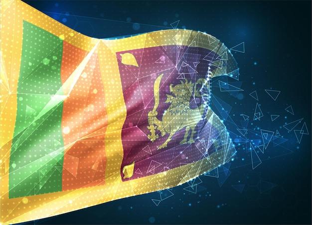 Sri lanka, drapeau vectoriel, objet 3d abstrait virtuel à partir de polygones triangulaires sur fond bleu