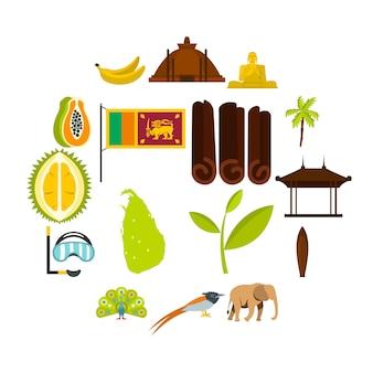 Sri lanka voyage ensemble icônes plats