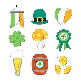 St dessiné à la main. collection d'éléments de patrick's day avec pièces et bière