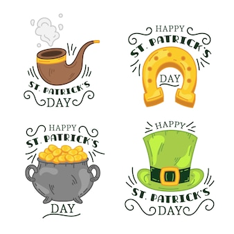 St dessiné à la main. collection d'étiquettes de patrick's day