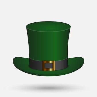 St. patrick chapeau vert isolé sur fond blanc