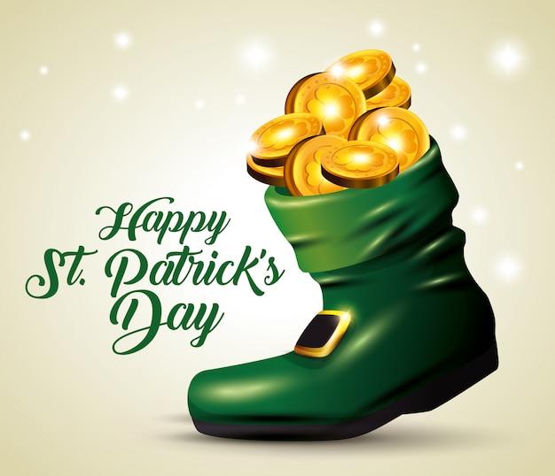 St patrick's day boot avec des pièces d'or