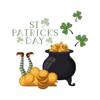 St patrick's day label avec chaudron de lutin