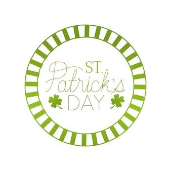St patrick`s day label avec icône isolé trèfle