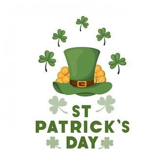 St patrick's day label avec icônes de chapeau de lutin
