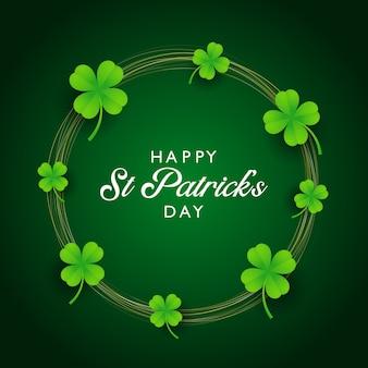 St Patricks Day Background Avec Trèfle Et Cercles D'or Vecteur gratuit