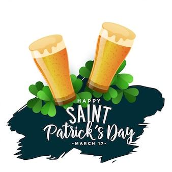 St patricks day background avec des verres à bière