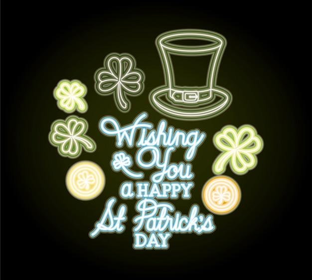 St patricks day étiquette néon avec chapeau lemprechaun