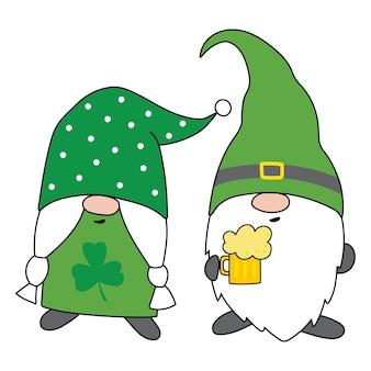 St patricks day gnome patricks gnomes cartoon style handdrawn illustration vectorielle
