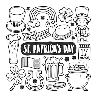 St patricks day icons doodle dessiné à la main à colorier