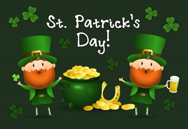 St patricks day inscription avec lutins et pot d'or