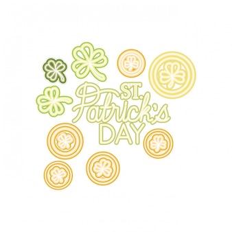 St patricks day label avec des icônes de trèfle