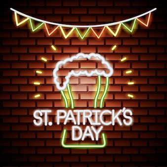 St patricks neon day