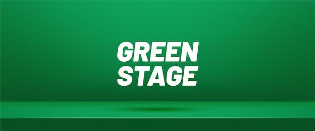 Stade 3d. salle de studio vide vert pour l'affichage des produits.