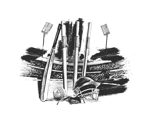 Stade de cricket avec ball bell croquis à main levée illustration vectorielle de conception graphique