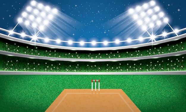 Stade de cricket avec néons
