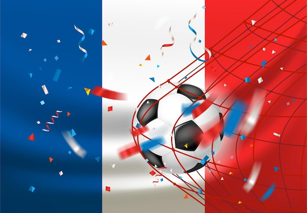 Stade de football avec le ballon et le drapeau de la france. viva la france