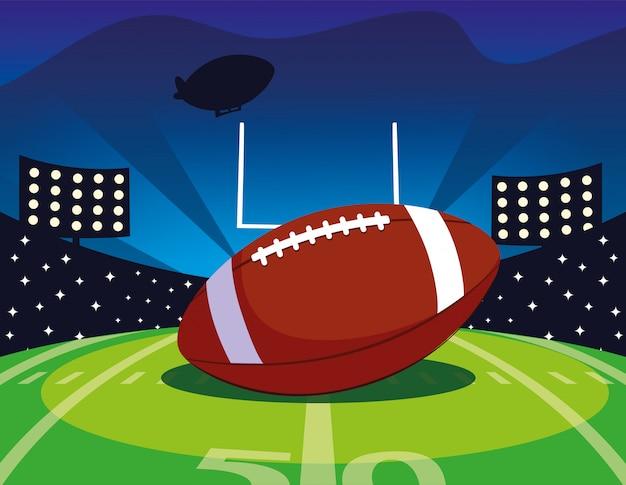 Stade de football avec ballon rugby, super bowl