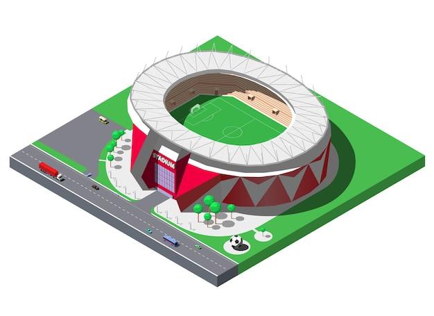 Stade de football isométrique, arène de football avec arbres et parking.