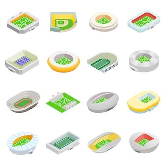 Stade isométrique 3d icônes définies