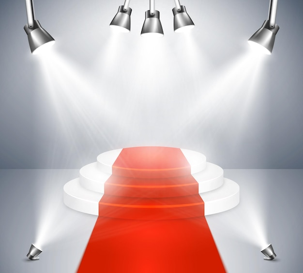 Stade de tapis rouge avec des projecteurs. podium avec tapis rouge. spotlight stage et award show projecteur illuminé. illustration