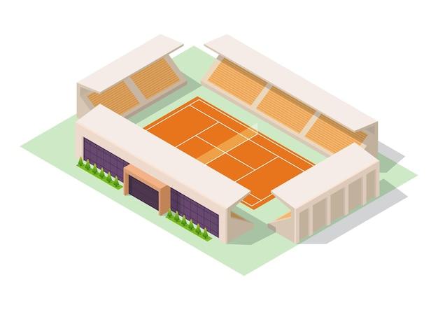 Stade de tennis isométrique de vecteur