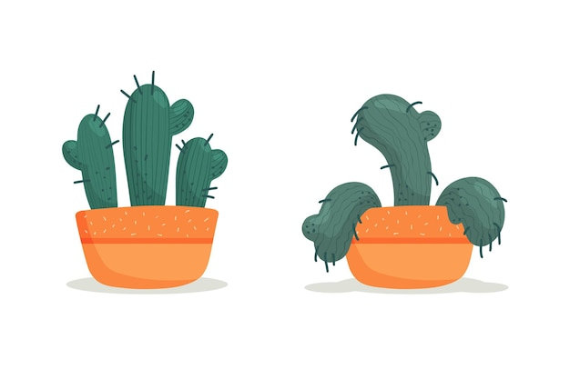 Stades de dépérissement, cactus fané dans un vase, plante abandonnée sans arrosage ni soins. mourir succulent. illustration vectorielle, style plat organique dessiné à la main.
