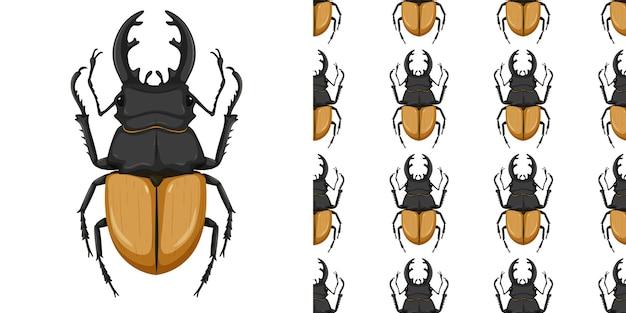 Stag beetle isolé sur fond blanc et sans soudure