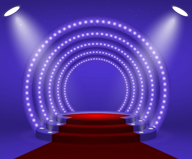 Stage avec lumières pour la cérémonie de remise des prix.