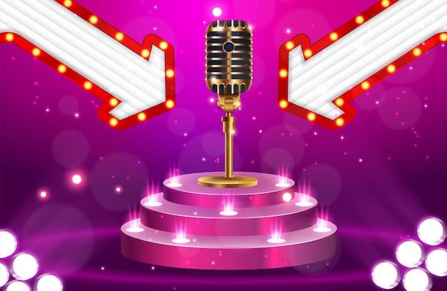 Stage avec microphone doré sur fond brillant