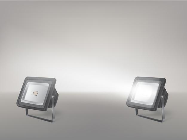 Stage ou studio projecteurs réaliste vecteur