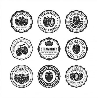 Stamp collection de conception d'aliments sains aux fraises