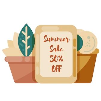 Stand avec bannière de vente et plantes