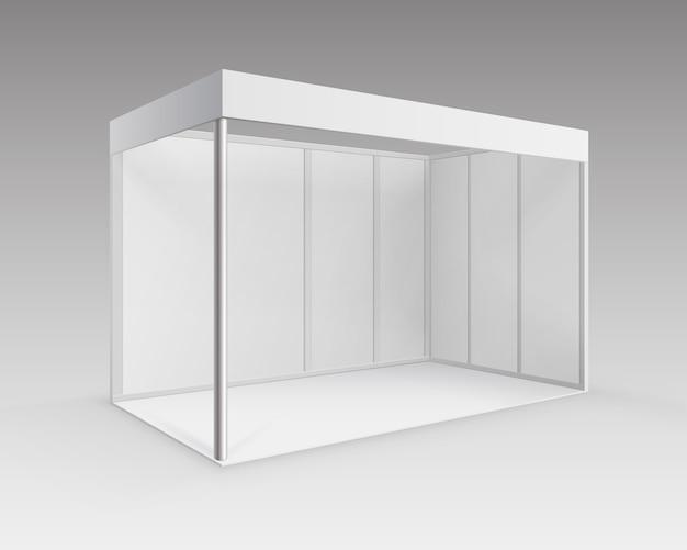 Stand blanc blanc de stand d'exposition du commerce intérieur pour la présentation en perspective isolé sur fond